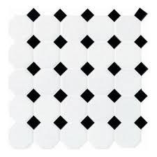 daltile 12 in x 12 in white with black ceramic octagon dot