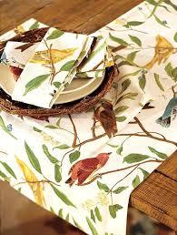 pottery barn table linens spring table setting ideas bird tablecloth and bird tableware