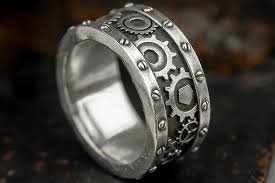 gear wedding ring buy a custom made steunk industrial gear ring made to order