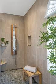 modern zen bath remodel bamboo print tile pebble floor tiles