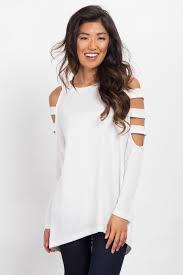 shoulder cut out blouse white open shoulder cutout knit maternity top