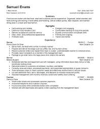 Food Service Resumes 100 Resume Templates For Waitress Waitress Or Hostess Resume
