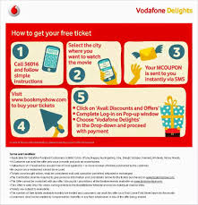 bookmyshow offer vodafone bookmyshow offer buy 1 movie ticket and get 1 ticket free