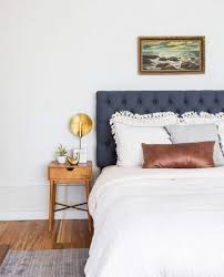 Guest Bedroom Wall Words Neutral Bed Styling Our Staged Guest Suite Emily Henderson