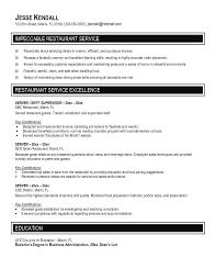 Food Service Resume Sample Server Resume Samples Resume Templates