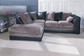 Dilo Dylan Corner Sofa Set Optional Footstool Black  Grey Left - Dylan sofa