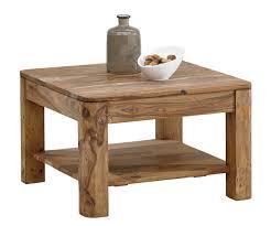 Wohnzimmertisch Holz Quadratisch Couchtisch Boston 70x70 Cm Sheesham Natur Massivholz Ablage Möbel