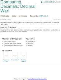 comparing decimals decimal war lesson plan education com