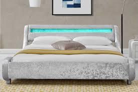 Crushed Velvet Bed Madrid Led Lights Silver Crushed Velvet Modern Designer Bed Frame
