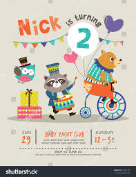 kids birthday party invitation card stock vector 631861733