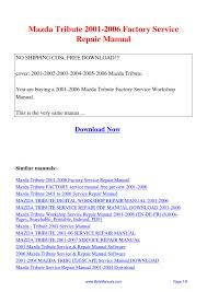 Mazda Tribute 2001 2006 Factory Service Repair Manual Pdf By Ging