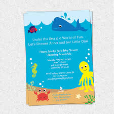 Unique Baby Shower Invitation Cards Under The Sea Baby Shower Invitations Kawaiitheo Com
