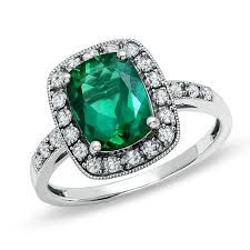sapphire emerald rings images Lab created cushion cut emerald and white sapphire ring in 14k jpg