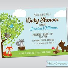 woodland creatures baby shower invitations home design