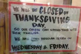 26 stores that will be closed on thanksgiving day