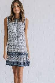 afternoon breeze navy printed dress bella ella boutique online