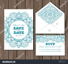 Invitation Card With Rsvp Wedding Set Lace Elements Save Date Stock Vector 374578606