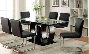 Glass Top Pedestal Dining Room Tables Furniture Of America Lodia I Black Glass Top Rectangular Pedestal
