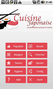 application cuisine android bonjour appli cuisine japonaise android mt