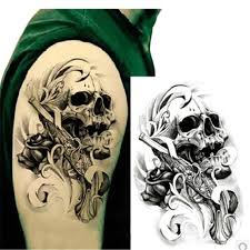 1pcs temporary waterproof tattoos male gun dangerous skull