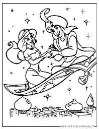 Coloriages Aladdin de walt Disney  Aladdin et Jasmine sur le tapis