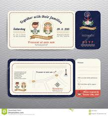 Wedding Invitation Rsvp Cards Nautical Ticket Hipster Bride And Groom Wedding Invitation And