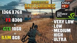 pubg 8gb ram pubg fx 8300 gtx 1050 8gb ram 768p playerunknown s battlegrounds