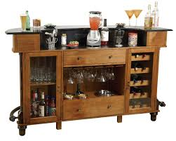 Basement Bar Ideas For Small Spaces Curved Brown Oak Wood Counter Bar Combined With Wine Storage