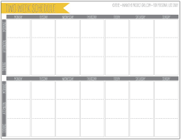 weekly schedule and calendar template with red and white