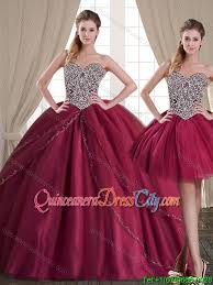 quince dresses fashionable burgundy brush tulle detachable quinceanera
