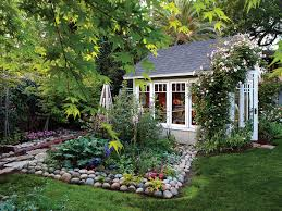 Backyard Cottage Garden Greenhouse Shed Sunset