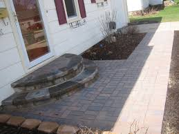good idea round steps off back door paver walkway and