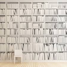 White Book Shelves by Faux Book Wallpaper Interiors Pinterest White Bookshelves