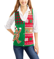 women u0027s ugly christmas sweater vest with faux fur collar walmart com