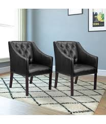 button tufted accent chair set of 2 u2013 black