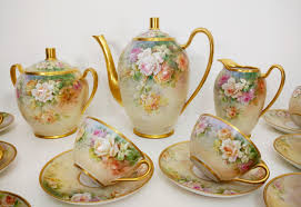 roses tea set wow 23 pieces of limoges painted roses tea coffee