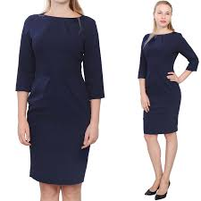 womens work dress office business sleeve knee