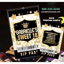 Vip Invitation Cards Gold Sweet Sixteen Vip Pass Invites