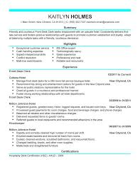 Office Clerk Resume Sample by Front Desk Resume Examples Resume Format 2017