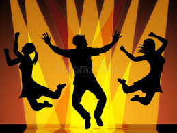 jumping disco indicates celebration and stock