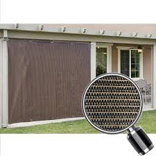 Side Awnings For Patios Alion Home Mocha Brown Sun Shade Privacy Panel With Grommets On 2