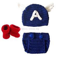 Crochet Newborn Halloween Costumes Captain America Baby Costume Handmade Crochet Captain America Hat