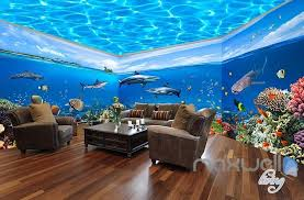 wall theme fish tank park theme space entire room wallpaper wall mural