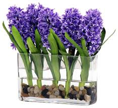 Silk Flowers In Vase Arrangements Blue Hyacinth In Glass Vase With River Rocks Transitional