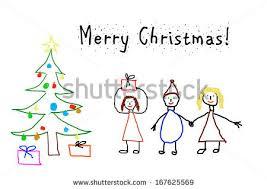 kids drawing christmas card stock illustration 167625569