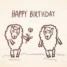 Sketch Birthday Card Happy Birthday Card Funny Sheep Girl Boy With Flower Sketch Stock