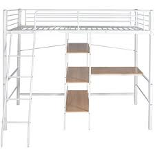 bureau enfant pliant vidaxl lit pliant à hauteur avec bureau en métal blanc et marron