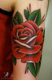 body art tattoos pink roses with green leaves shaded forearm