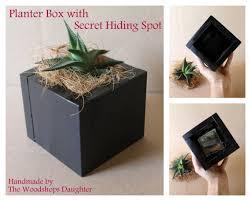 black planter secret hiding spot stash box succulent