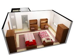 design room 3d online free with nice two single beds and double